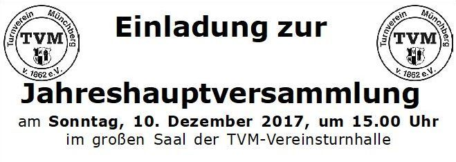 Jahreshauptversammlung am 10.12.2017