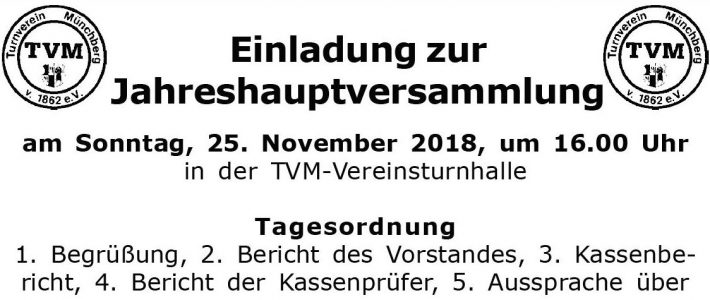 Jahreshauptversammlung am 25. November 2018