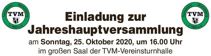 Einladung zur Jahreshauptversammlung am 25.10.2020
