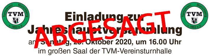 Absage Jahreshauptversammlung am 25.10.2020